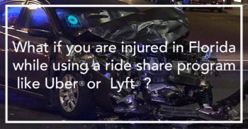 Wrecked car, ride-share driver